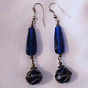 SALE Very Old Brass Pierced Earrings Lapis Blue Venetian Glass Wedding Cake Beads