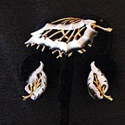 SALE 50% OFF~Vintage Signed Roma Brooch Earrings Set Enameled Faux Concha Shell