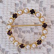 SALE 50% OFF~Petite Vintage Faux Pearl & Garnet Rhinestone Eternity Brooch/Pin