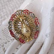 SALE 50% OFF~Signed Gerrys Vintage Peacock Enameled Brooch