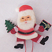 SALE Mechanical Santa Claus Celluloid Christmas Brooch