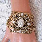 SALE Unusual Vintage 7 Chain Bracelet Rhinestone & Faux Pearls