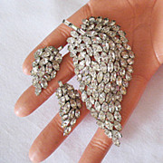 SALE 50% OFF~Superb Navette Rhinestone Waterfall Brooch Earrings Set