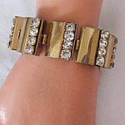 Amazing Brass & Rhinestone Link Bracelet Vintage 1940s
