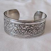 SALE Vintage Floral Silver Metal Etched Cuff Bracelet