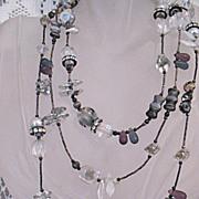 SALE Amazing Signed Chipita Vintage Crystal Rhinestone Natural Stone Necklace 52 Inches Long!