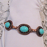 SALE Vintage Copper Turquoise Glass Bracelet Egyptian Style
