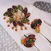 SALE Vintage Juliana DeLizza  Elster Brooch Earrings Set