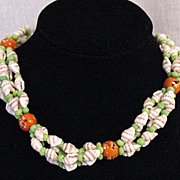 SALE 50% OFF~Unusual Vintage Sea Shell Necklace Blown Glass & Jadeite Beads