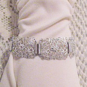 SALE 50% OFF~Feminine Vintage Germany Aluminum Bracelet Eloxal Lacy Silver~Unworn