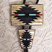 SALE 50% OFF~American Indian Signed C. Dishta Zuni Inlay Bola Tie & Belt Buckle