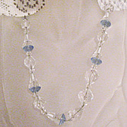 SALE 50% OFF~Magnificent Vintage Art Deco Blue Crystal Glass Beaded Sterling Necklace