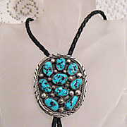 SALE Signed Tommy Moore Vintage Navajo Indian Sterling Bola Necklace Turquoise