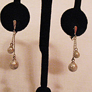 SALE Vintage Signed Crown Trifari Silver Beaded Dangle Earrings
