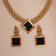 Chic Vintage Panther Link Black Glass Necklace Pierced Earrings Set
