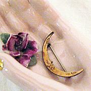 Victorian Antique Crescent Moon Pin Brooch