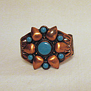 Signed Bell Trading Company Vintage Copper Turquoise Cuff Bracelet