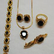 SALE Vintage 1980s 5 Piece Parure Black Onyx with Cubic Zirconia