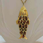 SALE Huge Articulated Vintage Fish Collet Rhinestone Necklace