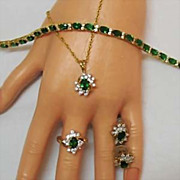 SALE Simulated Vintage Emerald Parure Necklace Ring Bracelet Earrings