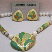 SALE Awesome Vintage Seta Ceramic Necklace Earrings Set Unworn Original Box