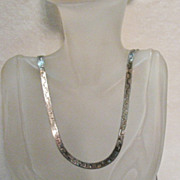 SALE Awesome Vintage Italian Sterling Silver Double Sided 36 Inch Necklace