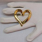 SALE Asymmetrical Vintage Golden Heart Brooch!~BOLD