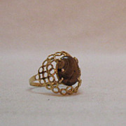 SALE Feminine Vintage 14K Gold Ring Natural Matrix Tigers Eye
