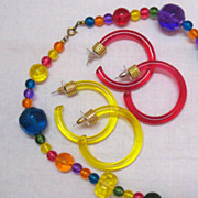 SALE Vintage Bold Colorful Lucite Rock Necklace 2 Pair of Pierced Earrings
