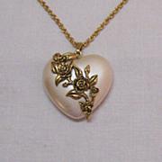 SALE Vintage Pearlized Lucite Puff Heart Floral Pendant Necklace