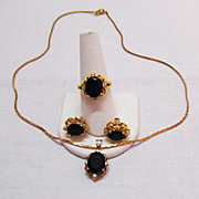 SALE Vintage Parure Black Onyx CZ Necklace Ring Earrings
