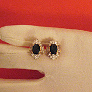 SALE Stunning Vintage Sapphire Blue Clear Cubic Zirconia Pierced Earrings