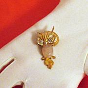 SALE Vintage Pink Lucite Scarab Belly Owl Brooch/Pin