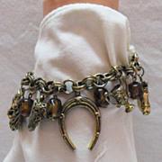 SALE Vintage Signed Germany Equestrian Charm Bracelet