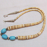 SALE American Indian Vintage Heishi Turquoise Sterling Silver Necklace