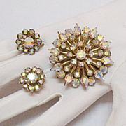 SALE Aurora Borealis Vintage Rhinestone Brooch  Earrings Set