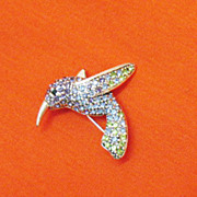 SALE Gorgeous Vintage Signed Monet Pava Rhinestone Humming Bird Brooch