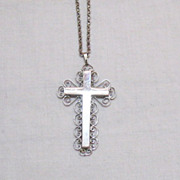 SALE Vintage Signed Whiting Davis Silver Two Sided Cross Necklace