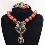 SALE Retired Signed Heidi Daus Vintage Carnelian Beaded Necklace Earrings Set