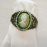 SALE Magnificent Vintage Green Cameo Rhinestone Bracelet