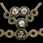SALE Vintage Brass Onyx Rhinestone Enameled Parure Necklace Bracelet Earrings