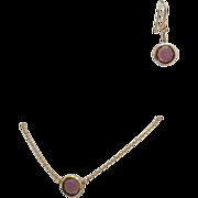 SALE Amazing Vintage Collet Amethyst Lavaliere Necklace Pierced Earrings Set~Signed Avon