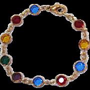 SALE Vintage Collet Set Jeweled Colored Glass Bracelet French Style