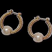 SALE Vintage Twisted Faux Pearl Hoop Pierced Earrings