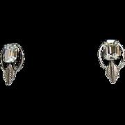 SALE Vintage Sterling Silver Van Dell Emerald Rhinestone Earrings