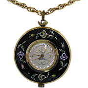 SOLD Marcel Boucher Enameled Watch Pendant Necklace