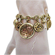 SALE Unusual Vintage Faux Watch Parts Charm Bracelet