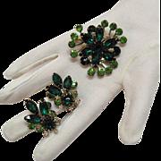 SALE Vintage Emerald Green Rhinestone Brooch & Earrings Set