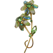SALE Juliana D&E Double Rhinestone Givre Glass Brooch