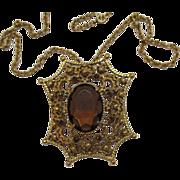 SALE Signed Florenza Vintage HUGE Cognac Stone Necklace